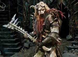 Bolg in full makeup and costume. A vastly improved version over the green screen menace.