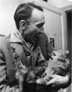 Yes, this is the legendary Bazin discussing mis-en-scene with a cat.